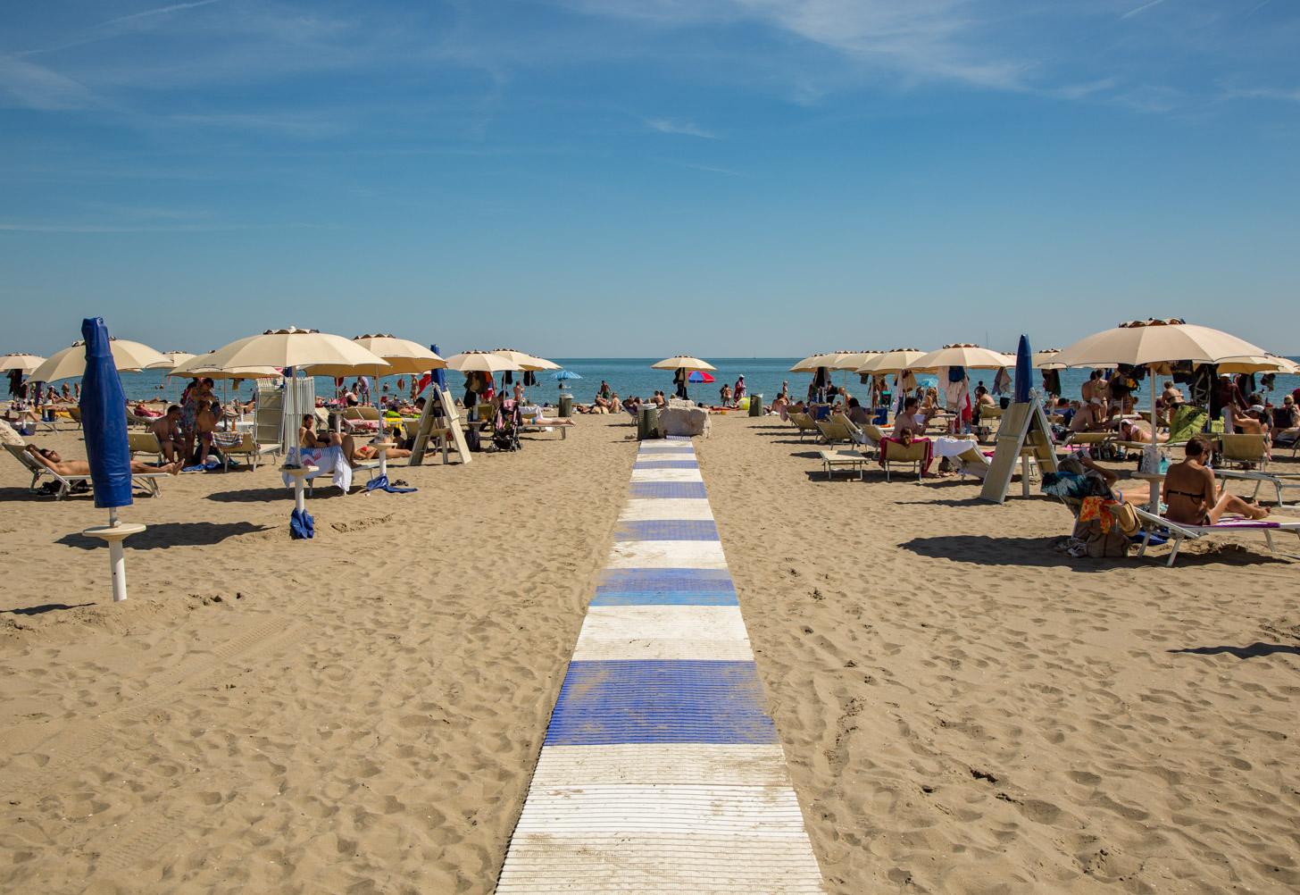 Het strand van Lido in Venetië